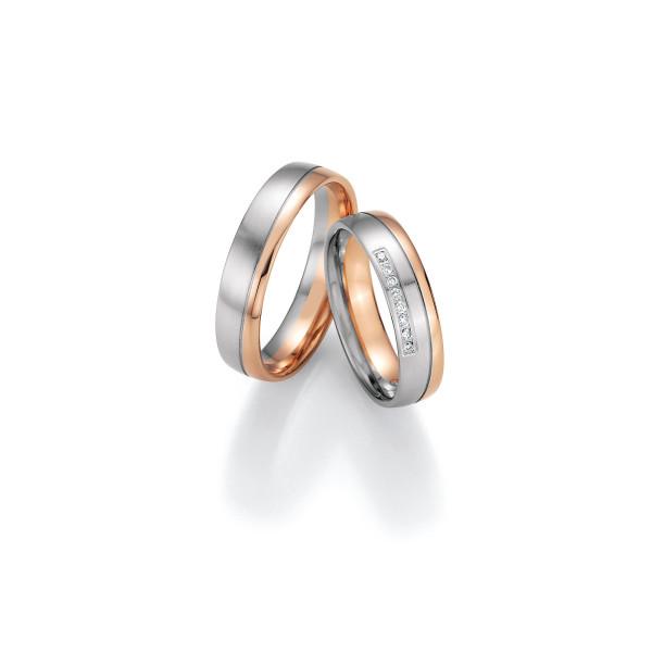 2 x Trauringe mit Diamant 585er Gold - Honeymoon Variation - 66/40150-050