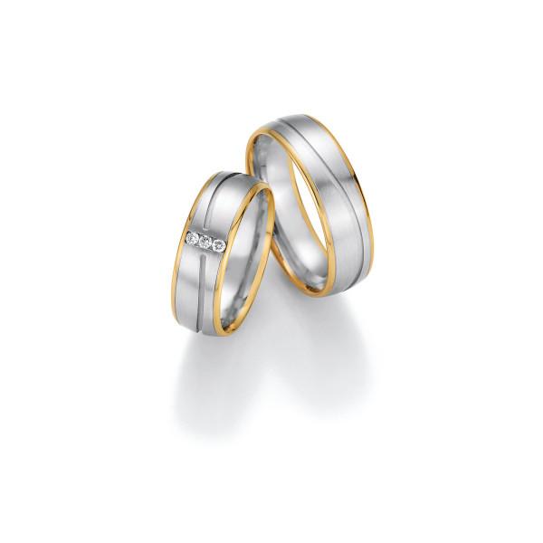 2 x Trauringe mit Diamant 585er Gold - Honeymoon Variation - 66/40170-065