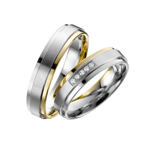 2 x Trauringe mit Diamant Bicolor 585er Gold - Adore Luxe - A33