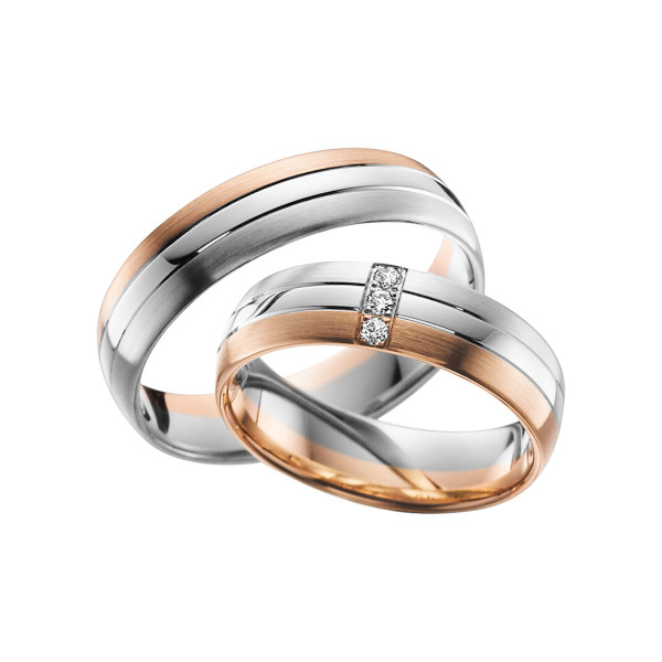 2 x Trauringe mit Diamant Bicolor 585er Gold - Adore Luxe - A34