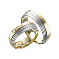 2 x Trauringe mit Diamant Bicolor 585er Gold - Adore Luxe - A35