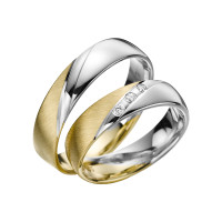 2 x Trauringe mit Diamant Bicolor 585er Gold - Adore Luxe - A36