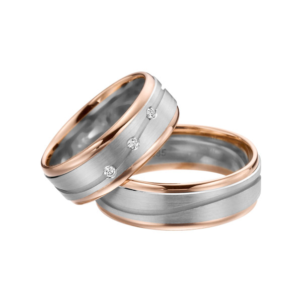 2 x Trauringe mit Diamant Bicolor 585er Gold - Adore Luxe - A37