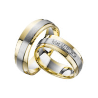 2 x Trauringe mit Diamant Bicolor 585er Gold - Adore Luxe - A38