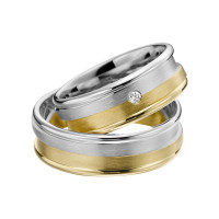 2 x Trauringe mit Diamant Bicolor 585er Gold - Adore Luxe - A40