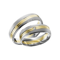 2 x Trauringe mit Diamant Bicolor 585er Gold - Adore Luxe - A41
