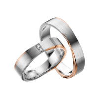 2 x Trauringe mit Diamant Bicolor 585er Gold - Adore Luxe - A42