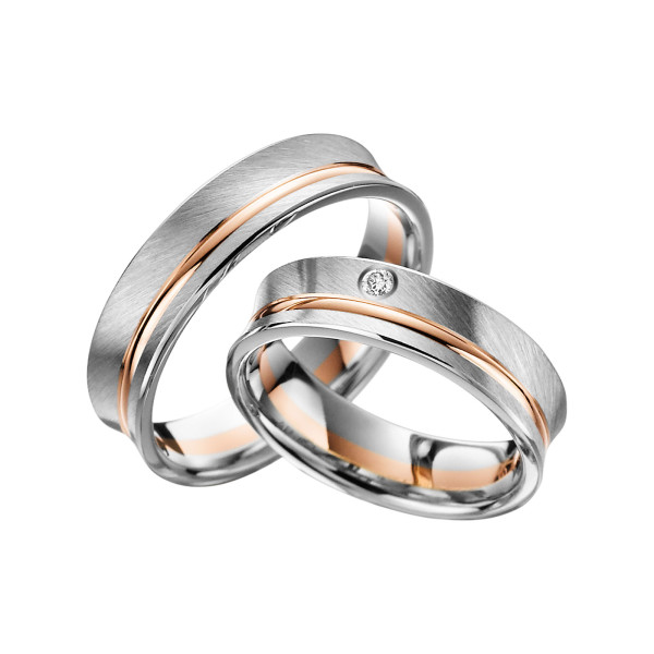 2 x Trauringe mit Diamant Bicolor 585er Gold - Adore Luxe - A44