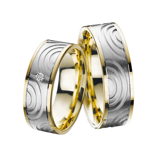 2 x Trauringe mit Diamant Bicolor 585er Gold - Adore Luxe - A47