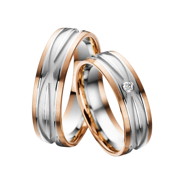 2 x Trauringe mit Diamant Bicolor 585er Gold - Adore Luxe - A48