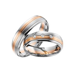 2 x Trauringe mit Diamant Bicolor 585er Gold - Adore Luxe...