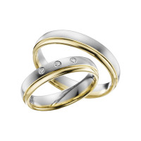 2 x Trauringe mit Diamant Bicolor 585er Gold - Adore Luxe - A52
