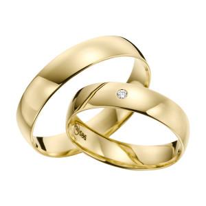 2 x Trauringe mit Diamant Gelbgold 585er Gold - R9 - R137