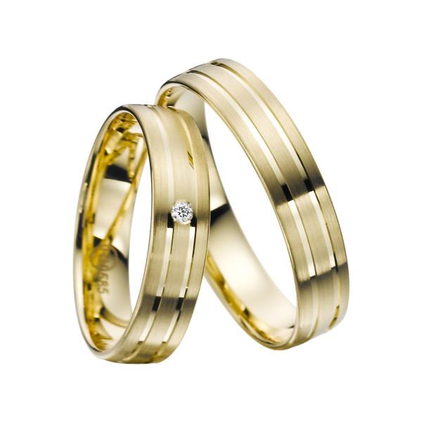 2 x Trauringe mit Diamant Gelbgold 585er Gold - R9 - R138