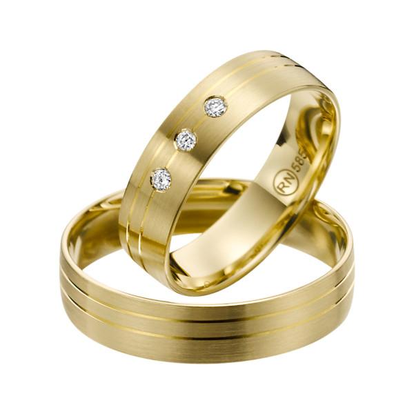 2 x Trauringe mit Diamant Gelbgold 585er Gold - R9 - R139