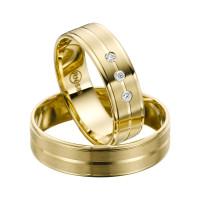 2 x Trauringe mit Diamant Gelbgold 585er Gold - R9 - R140