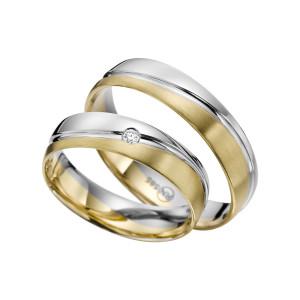 2 x Trauringe mit Diamant Bicolor 585er Gold - R9 - R141