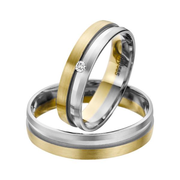 2 x Trauringe mit Diamant Bicolor 585er Gold - R9 - R142