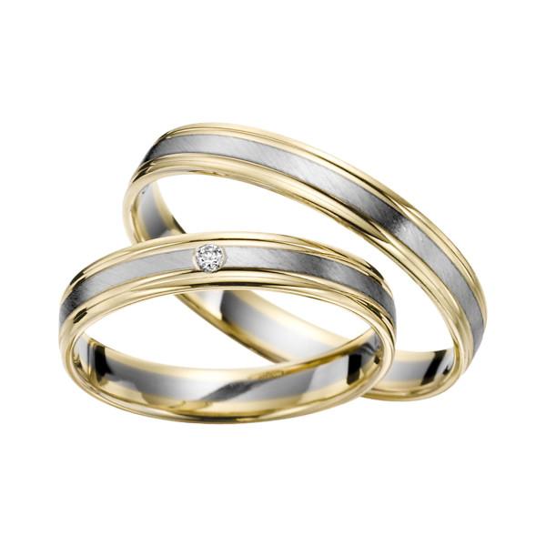 2 x Trauringe mit Diamant Bicolor 585er Gold - R9 - R143