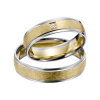 2 x Trauringe mit Diamant Bicolor 585er Gold - R9 - R144