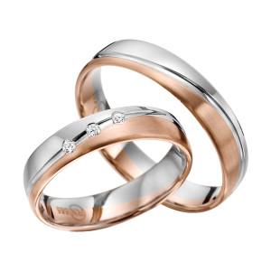 2 x Trauringe mit Diamant Bicolor 585er Gold - R9 - R145