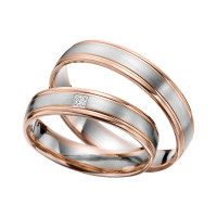 2 x Trauringe mit Diamant Bicolor 585er Gold - R9 - R148