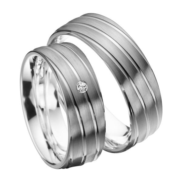 2 x Trauringe mit Diamant Palladium 585 - EC84 Palladiumstar - R903