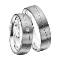2 x Trauringe mit Diamant Palladium 585 - EC84 Palladiumstar - R904