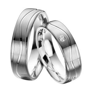 2 x Trauringe mit Diamant Palladium 585 - EC84 Palladiumstar - R905