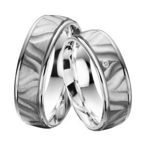 2 x Trauringe mit Diamant Palladium 585 auf Silber 925 -...