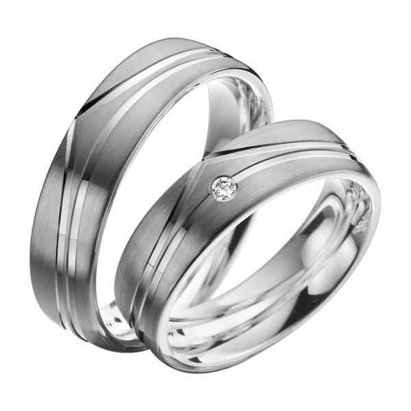 2 x Trauringe mit Diamant Palladium 585 - EC84 Palladiumstar - R912