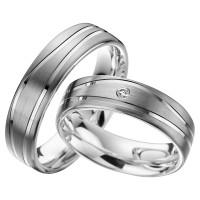 2 x Trauringe mit Diamant Palladium 585 auf Silber 925 - EC84 Palladiumstar - R915