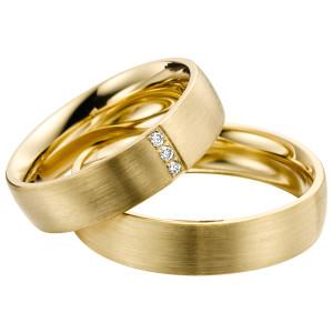 2 x Trauringe mit Diamant 585er Gold - EC84 Timeless - R750