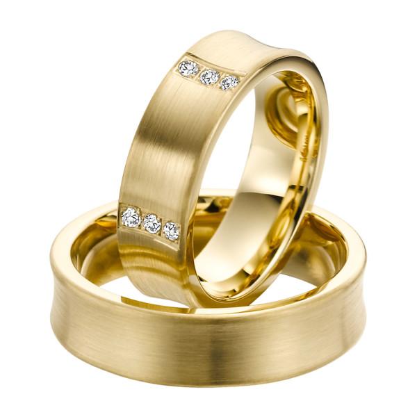 2 x Trauringe mit Diamant 585er Gold - EC84 Timeless - R751