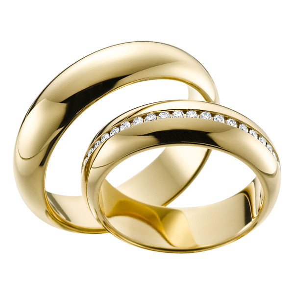2 x Trauringe mit Diamant 585er Gold - EC84 Timeless - R752