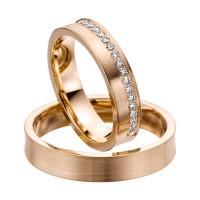 2 x Trauringe mit Diamant 585er Gold - EC84 Timeless - R753
