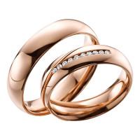2 x Trauringe mit Diamant 585er Gold - EC84 Timeless - R754