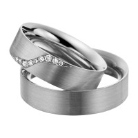 2 x Trauringe mit Diamant 585er Gold - EC84 Timeless - R755