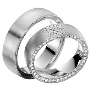 2 x Trauringe mit Diamant 585er Gold - EC84 Timeless - R756