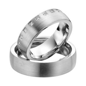 2 x Trauringe mit Diamant 585er Gold - EC84 Timeless - R758