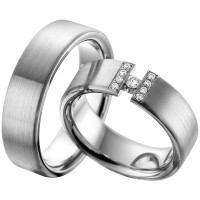 2 x Trauringe mit Diamant 585er Gold - EC84 Timeless - R759