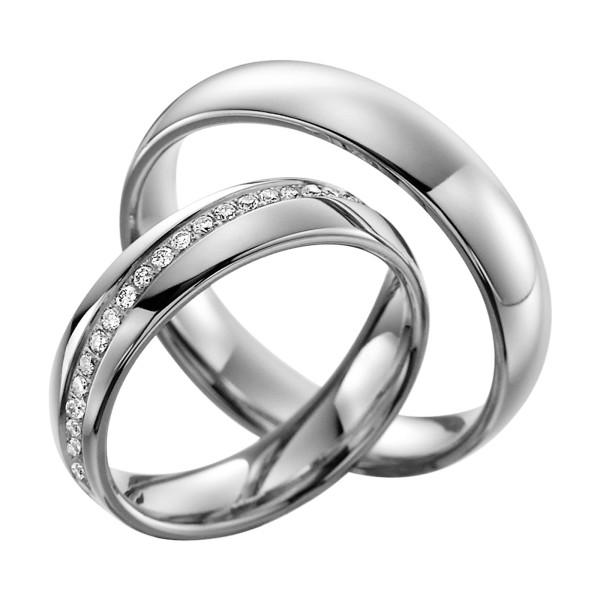 2 x Trauringe mit Diamant 585er Gold - EC84 Timeless - R760