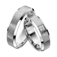 2 x Trauringe mit Diamant 585er Palladium & Silber - Shadow Line - R933