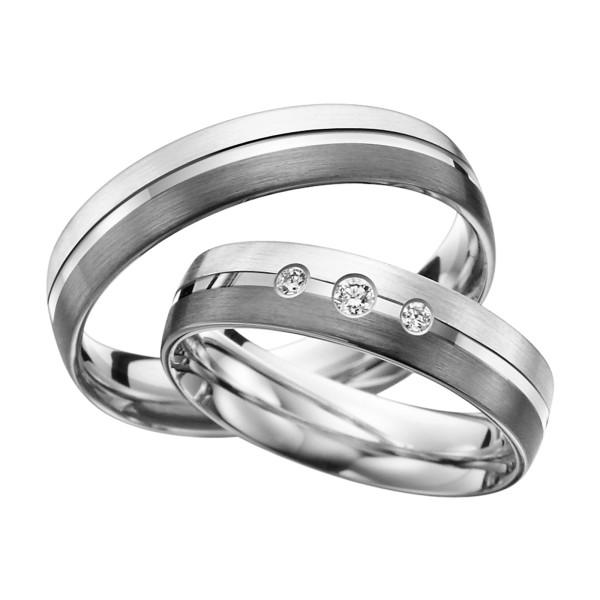 2 x Trauringe mit Diamant 585er Palladium & Silber - Shadow Line - R934
