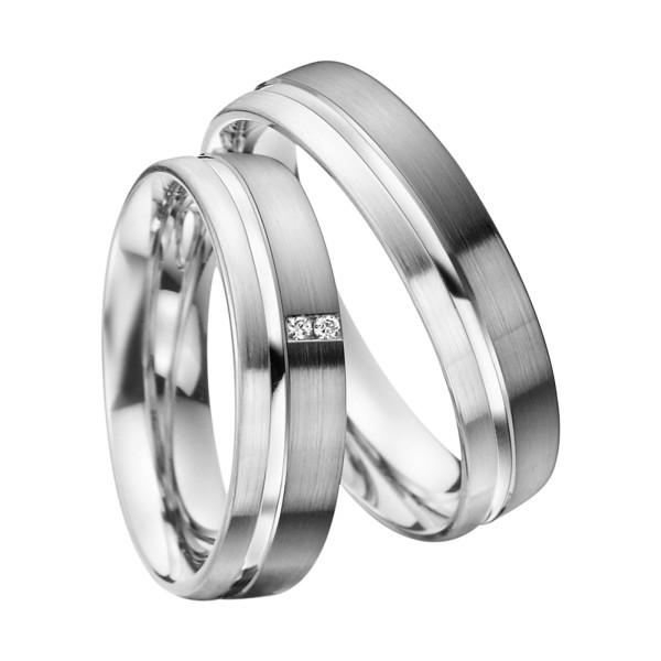 2 x Trauringe mit Diamant 585er Palladium & Silber - Shadow Line - R935