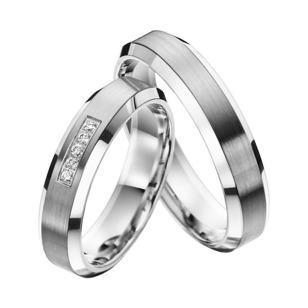 2 x Trauringe mit Diamant 585er Palladium & Silber - Shadow Line - R936