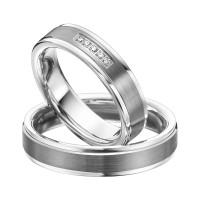 2 x Trauringe mit Diamant 585er Palladium & Silber - Shadow Line - R940