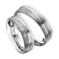 2 x Trauringe mit Diamant 585er Palladium & Silber - Shadow Line - R941