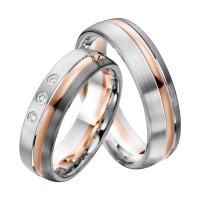 2 x Trauringe mit Diamant 585er Palladium & Silber - Shadow Line - R947