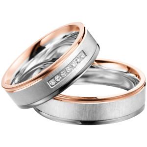 2 x Trauringe mit Diamant 585er Palladium & Silber -...